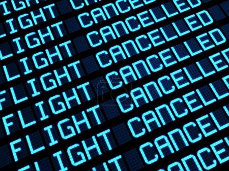 Photo pour Conseil de départs à affichage terminal de l'aéroport annulé des vols en raison de la grève. voyage imprévu concept, rendu 3d. - image libre de droit