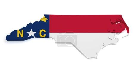 Photo pour Forme 3d de la carte de Caroline du Nord avec drapeau isolé sur fond blanc . - image libre de droit