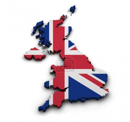 Photo pour Historique de la Grande-Bretagne. modeler 3d de la carte du Royaume-Uni avec pavillon isolé sur blanc. - image libre de droit