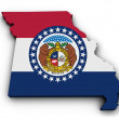 Shape 3d of Missouri state map with flag isolated ...