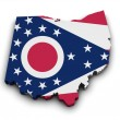 Shape 3d of Ohio state map with flag isolated on w...