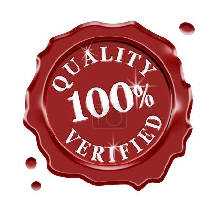 Photo pour Sceau de cire rouge avec texte central qualité 100 % vérifié pour la boutique en ligne et la boutique, isolé sur fond blanc . - image libre de droit