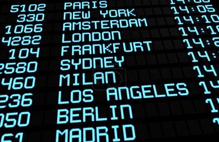 Foto de Salidas tablilla en mostrando terminal Aeropuerto Internacional viajes destinos vuelos a algunas de las ciudades más populares del mundo. concepto de viajes negocios o de placer, render 3d. - Imagen libre de derechos