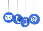 Webové ikony na modré značky, kontaktujte nás