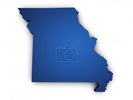 Shape 3d of Missouri State map colored in blue and...
