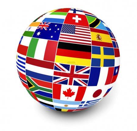 Photo pour Voyages, les services et le concept de gestion des affaires internationales avec un globe et drapeaux internationaux du monde sur fond blanc. - image libre de droit