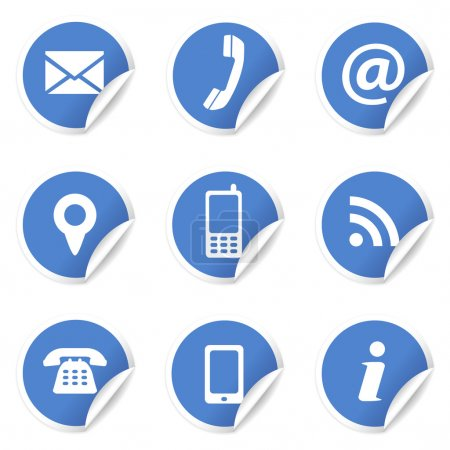Illustration for Web and Internet contact us icons set and design symbols on blue circular labels with curl. EPS10 vector illustration isolated on white background. - Royalty Free Image