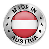 Made in Austria silver badge and icon with central glossy Austrian flag symbol and stars Vector EPS10 illustration isolated on white background