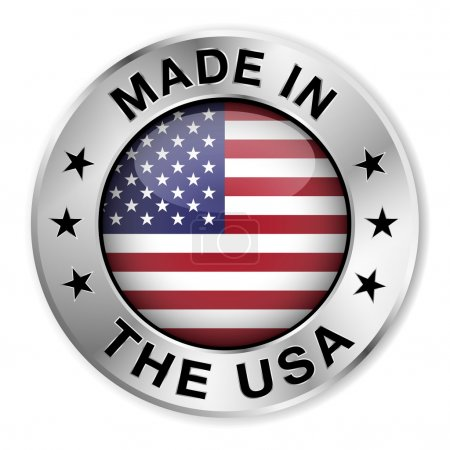 Made in The USA silver badge and icon with central...