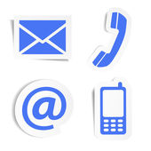 Website and Internet contact us icons set and design symbols on blue stickers with shadow EPS10 vector illustration isolated on white background