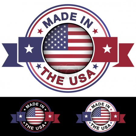 Made in The USA label and icon with ribbon and cen...