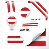Made in Austria collection of ribbon label stickers pointer badge icon and page curl with Austrian flag symbol on design element Vector EPS10 illustration isolated on white background