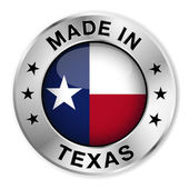 Made in Texas silver badge and icon with central glossy Texan flag symbol and stars Vector EPS10 illustration isolated on white background