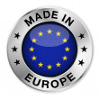 Made in Europe silver badge and icon with central ...