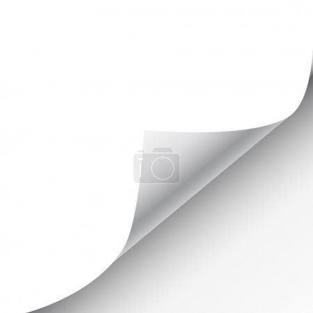 Illustration for Blank sheet of paper with page curl and shadow, design element for advertising and promotional message isolated on white background. EPS 10 vector illustration. - Royalty Free Image