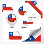 Made in Chile collection of ribbon label stickers pointer badge icon and page curl with Chilean flag symbol on design element Vector EPS 10 illustration isolated on white background