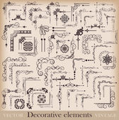 Decorative elements Angle design Big set Vector image Vintage