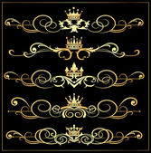 Vector set Victorian Scrolls and crown Gold decorative elements
