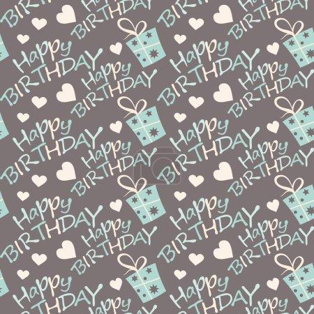 Illustration pour Joyeux anniversaire sans couture motif texture fond papier pour emballage cadeaux vectoriel illustration - image libre de droit