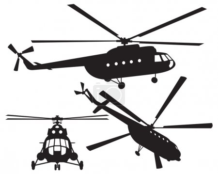 Illustration for Helicopter silhouette. Mi 8. Vector illustration - Royalty Free Image