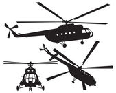 Helicopter silhouette Mi 8 Vector illustration