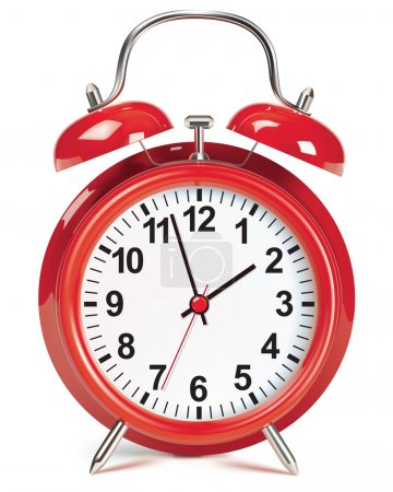 Alarm clock isolated on white. Vector illustration