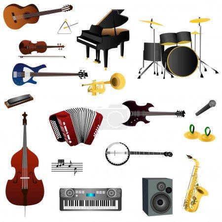 Illustration pour Illustration d'instruments de musique avec fond blanc - image libre de droit