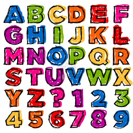 Illustration for Vector set of colorful doodle alphabet and numbers. - Royalty Free Image