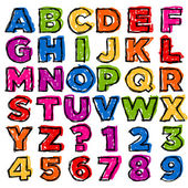 Vector set of colorful doodle alphabet and numbers
