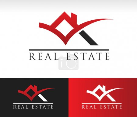 Illustration for Real estate icon with roof and check mark graphic element - Royalty Free Image