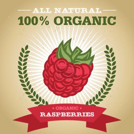 Illustration pour Vintage affiche design de fruits bio rétro avec icône framboise - image libre de droit