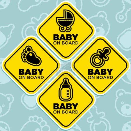 bébé de vecteur à bord des signes