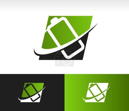 Illustration pour Icône de batterie avec élément graphique swoosh - image libre de droit