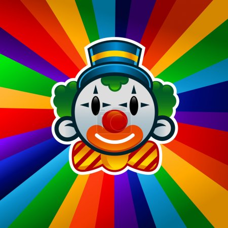Illustration for Colorful clown isolated on bursting background - Royalty Free Image