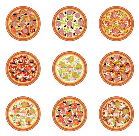Illustration pour Ensemble de pizza - image libre de droit