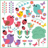 Scrapbook elements with birds and insects