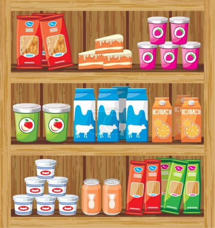 Supermarket. Shelfs with food