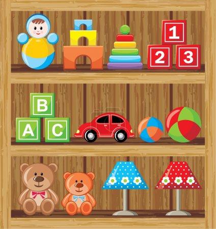 Illustration pour Étagères avec jouets - image libre de droit