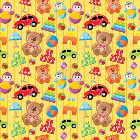Illustration for Seamless toys pattern. - Royalty Free Image