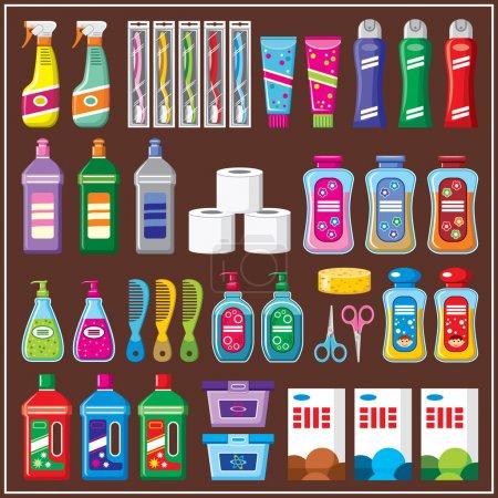 Illustration pour Ensemble de produits chimiques ménagers. vecteur - image libre de droit