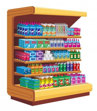 Illustration pour Étagères avec produits chimiques ménagers. vecteur - image libre de droit