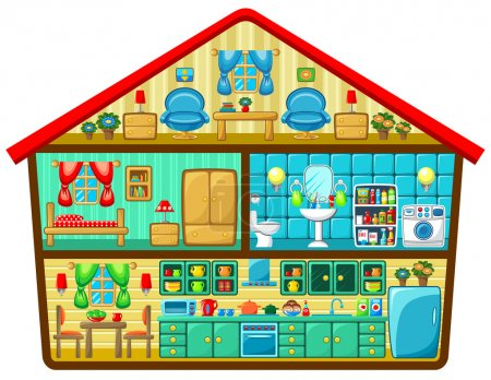 Illustration for Cartoon house in a cut. Vector illustration - Royalty Free Image