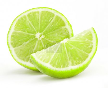 Photo for Fresh lime and slice, Isolated on white background - Royalty Free Image