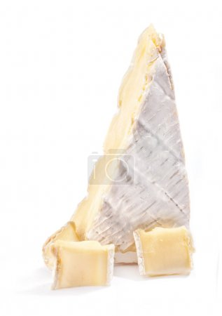 Brie cheese isolated on a white background...