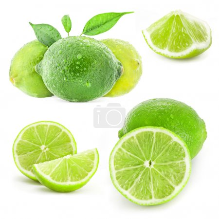 Photo for Collection Fresh lime and slice, Isolated on white background - Royalty Free Image