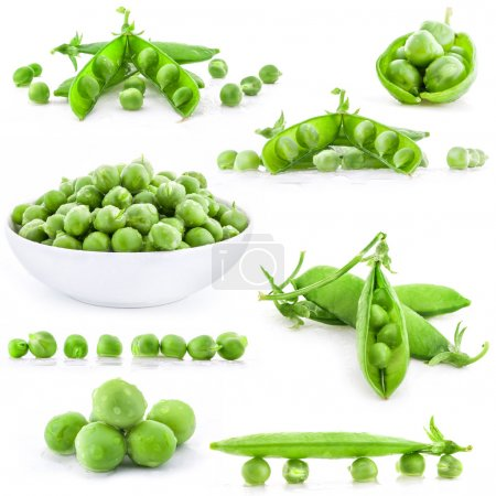 Photo for Collection Fresh green pea pod and peas with water drops, closeup on white background - Royalty Free Image