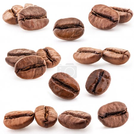 Photo for Collection of Coffee beans isolated on white background, closeup, macro - Royalty Free Image