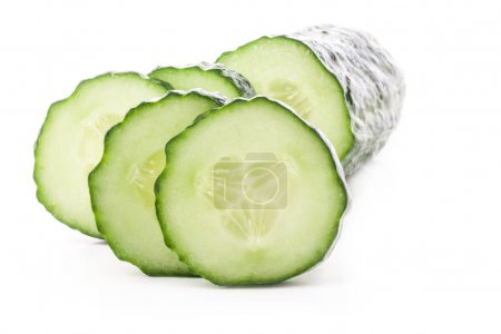 Photo for Cucumber slices isolated on white background - Royalty Free Image