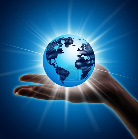Photo for Image of hand holding earth planet against illustration - Royalty Free Image