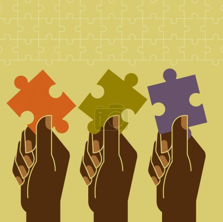 Illustration for Jigsaw puzzles in hands. Business concept - Royalty Free Image